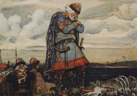 Олег біля кісток коня. Ілюстрація до «Піснь про віщого Олега» О. С. Пушкіна.