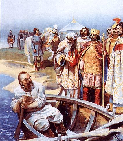 Зустріч Святослава I Хороброго з візантійським імператором Іоанном I Цимісхієм на березі Дунаю.