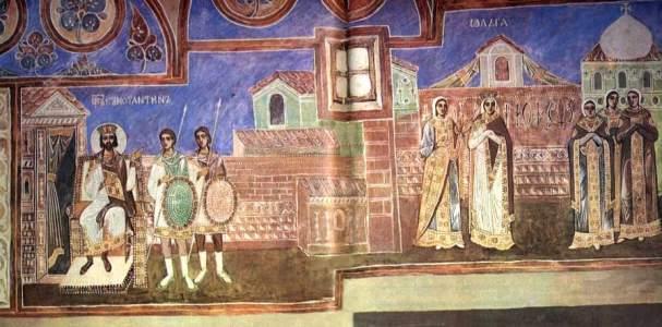 Посольство княгині Ольги в Константинополі (фреска в Софії Київській)