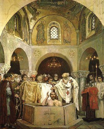 Хрещення святого князя Володимира. Фреска у Володимирському соборі Києва