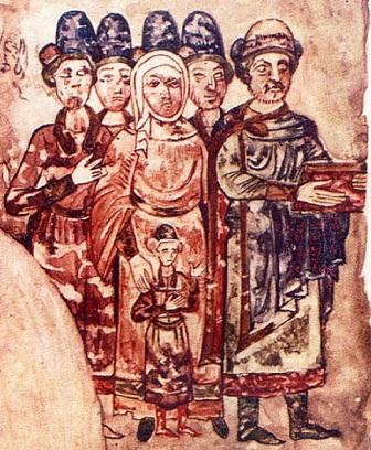Родина князя Святослава Ярославича. Мініатюра з «Ізборника», 1073 р.