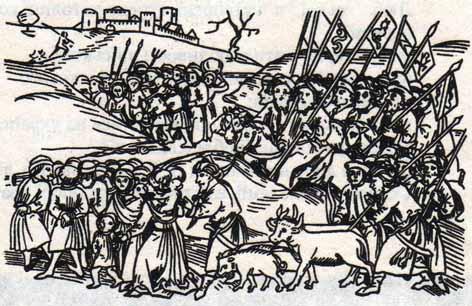 Орда повертається з ясиром. Гравюра з угорської хроніки XV ст.