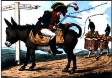 Карикатура. Заслання Наполеона на Ельбу.