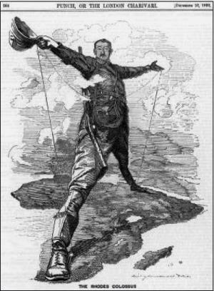 Карикатура. Колоніальні прагнення Великої Британії в Африці.